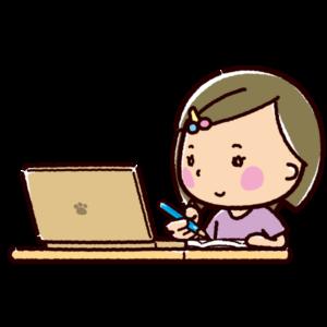 オンライン授業のイラスト(女子)