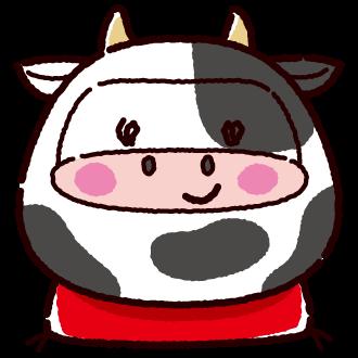 牛のダルマのイラスト(2カット)