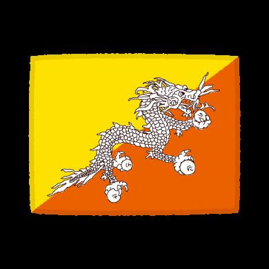 国旗のイラスト(ブータン王国)(2カット)