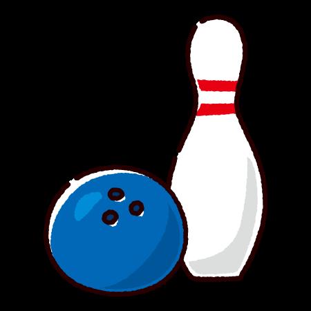 ボウリングのイラスト(ボールとピン)(2カラー)