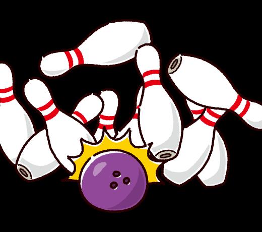 ボウリングのイラスト(ストライク)(2カラー)