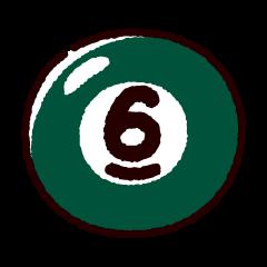 ビリヤードのイラスト(ボール6)