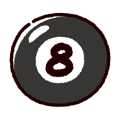 ビリヤードのイラスト(ボール8)