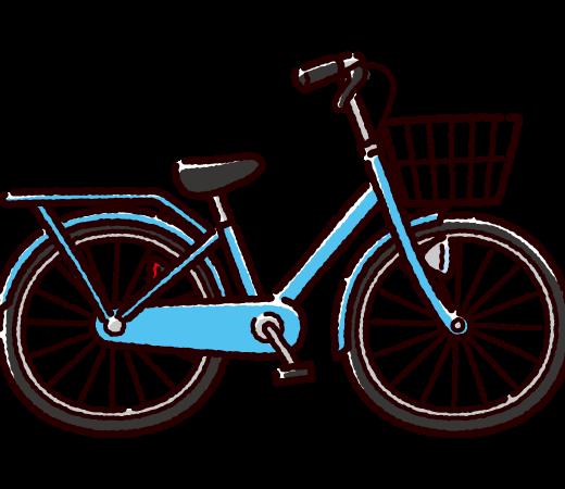 自転車のイラスト(シティサイクル/ママチャリ)(4カラー)