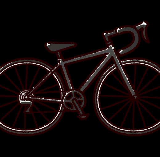 自転車のイラスト(ロードバイク)(4カラー)