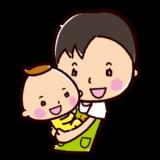保育士のイラスト(抱っこ・男性)