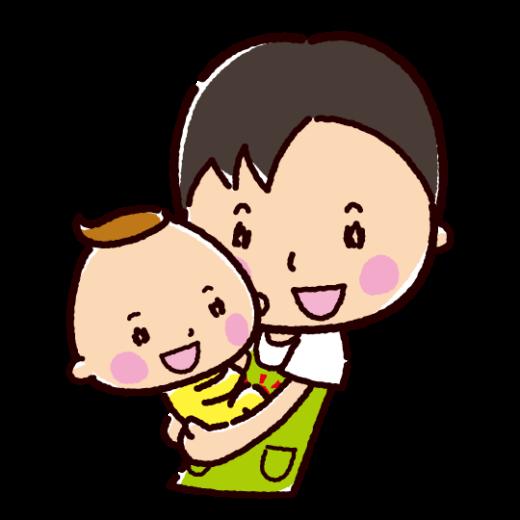 保育士のイラスト(抱っこ・男性)(2カット)