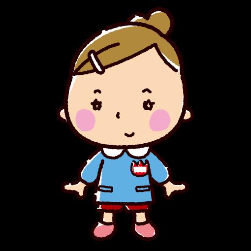 園児のイラスト(保育園/幼稚園・女の子)(2カット)