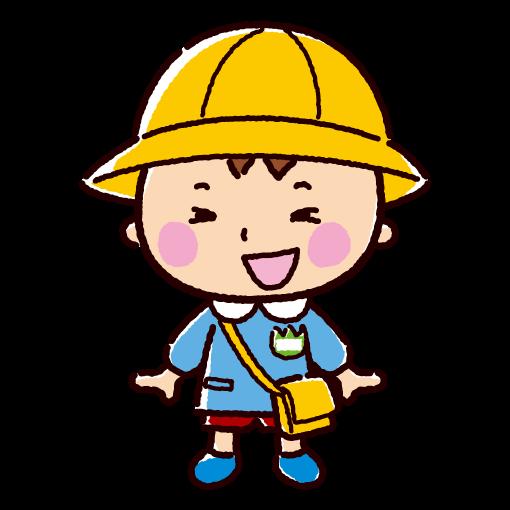 園児のイラスト(登園・男の子)(2カット)