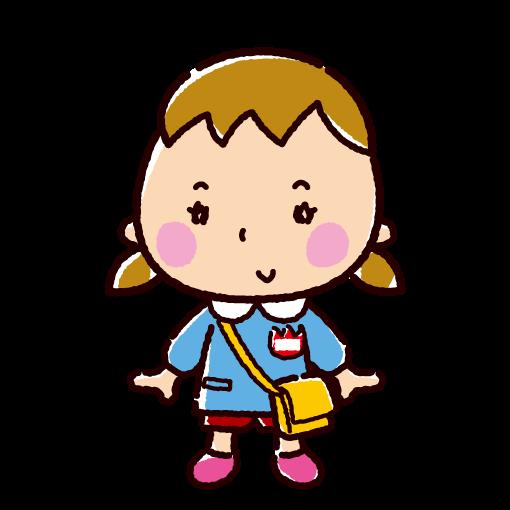 園児のイラスト(登園・女の子)(2カット)