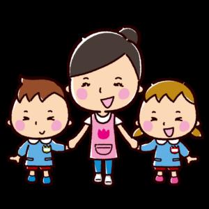 女性保育士と園児のイラスト(保育園・幼稚園)