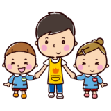 男性保育士と園児のイラスト(保育園・幼稚園)