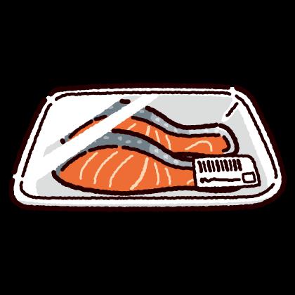 鮭の切り身のイラスト(4カット)
