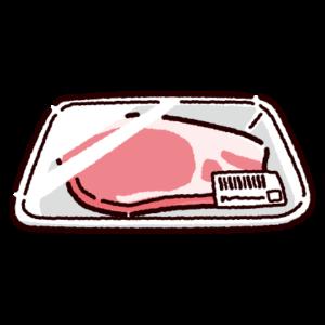 パックに入った豚ロース肉のイラスト
