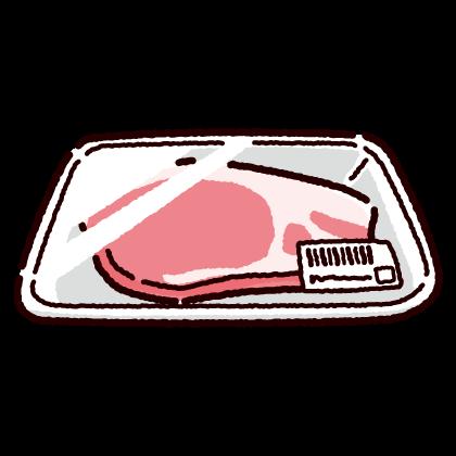 パックに入った豚ロース肉のイラスト(2カット)