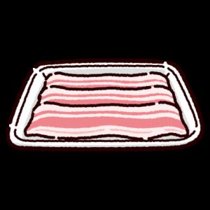 パックに入った豚バラ肉のイラスト