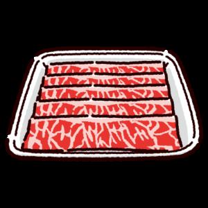 パックに入った牛バラ肉のイラスト