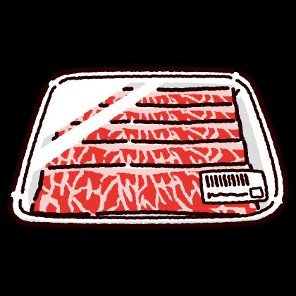 パックに入った牛バラ肉のイラスト(2カット)