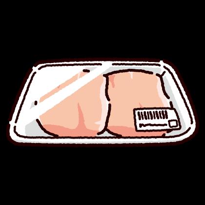 パックに入った鶏むね肉のイラスト(2カット)