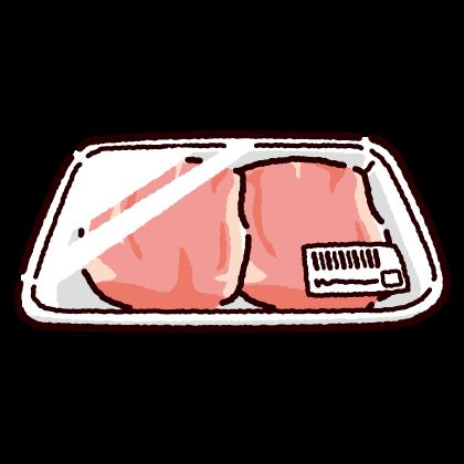 パックに入った鶏もも肉のイラスト(2カット)