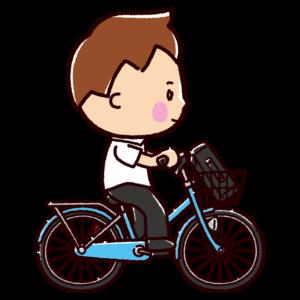 自転車に乗る男子学生のイラスト