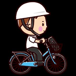 自転車に乗る男子学生のイラスト(ヘルメット)