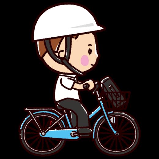 自転車に乗る男子学生のイラスト(ヘルメット有無)(2カット)
