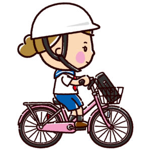 自転車に乗る女子学生のイラスト(ヘルメット)