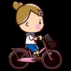 自転車に乗る女子学生のイラスト