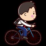 自転車に乗るサラリーマンのイラスト