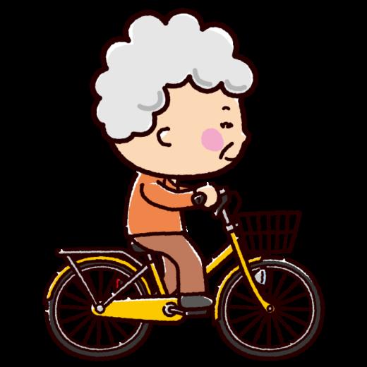 自転車に乗るおばあさんのイラスト