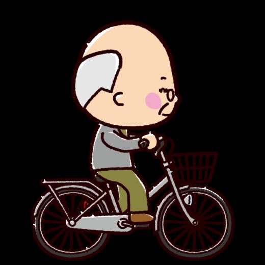 自転車に乗るおじいさんのイラスト