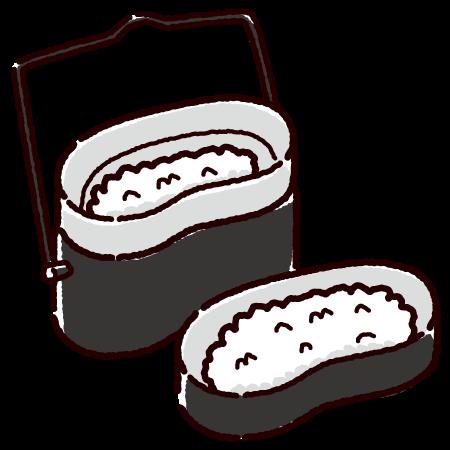飯盒とご飯のイラスト(キャンプ飯)