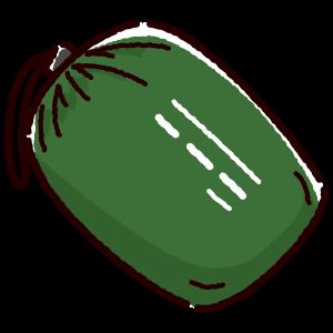 寝袋のイラスト(シュラフ/収納時)(3カラー)