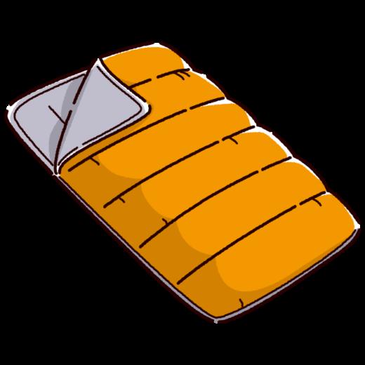 寝袋のイラスト(シュラフ/封筒型)(3カラー)