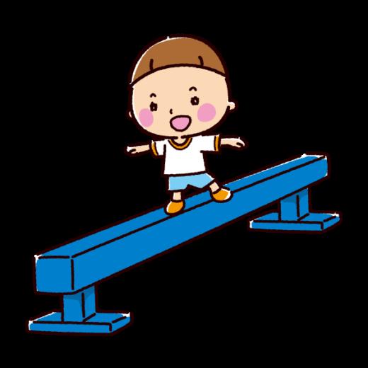 平均台に乗る子供のイラスト(2カット)