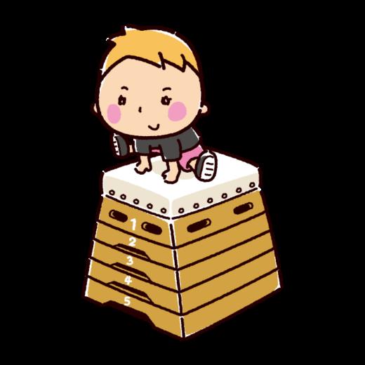 とび箱を跳ぶ子供のイラスト(2カット)