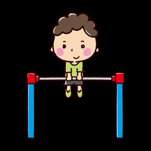 鉄棒で遊ぶ子供のイラスト(2カット)