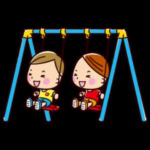 ブランコで遊ぶ子供のイラスト