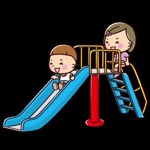 すべり台で遊ぶ子供のイラスト(2カット)