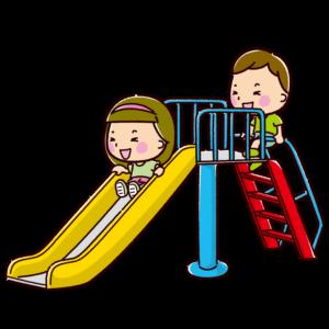 すべり台で遊ぶ子供のイラスト