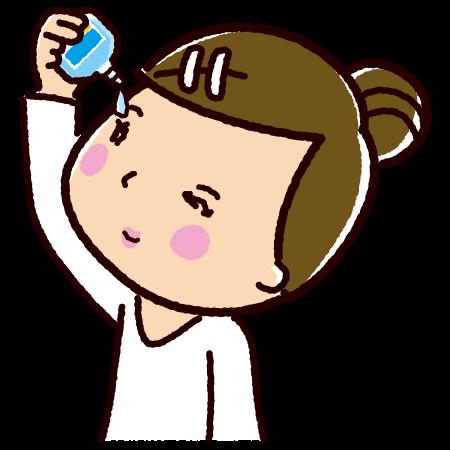 目薬をさす女性のイラスト(点眼薬)