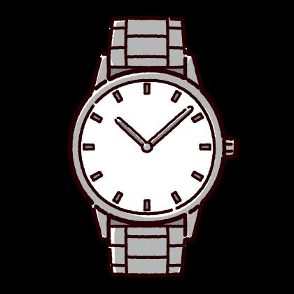腕時計のイラスト(メタルバンド)(2カラー)
