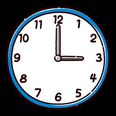 時計のイラスト(0時〜5時半)(12カット)