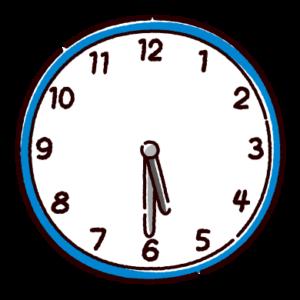 時計のイラスト(5時半)