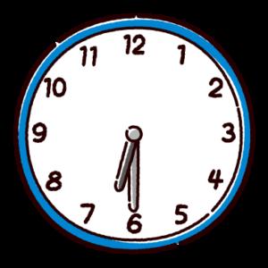 時計のイラスト(6時半)