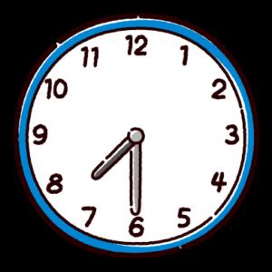 時計のイラスト(7時半)