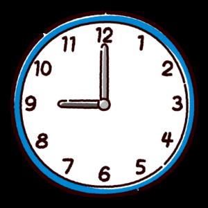 時計のイラスト(9時)