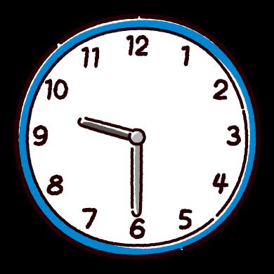 時計のイラスト(6時〜11時半)(12カット)