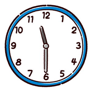 時計のイラスト(11時半)